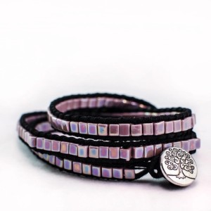 GypsyManders Purple Metallic Triple Wrap Bracelet
