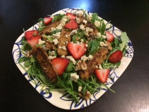 Arugula tempeh bacon feta salad