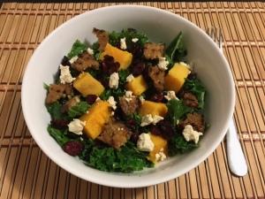 Kale Pumpkin Cranberry Feta Salad