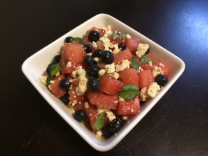 watermelon blueberry feta mint salad