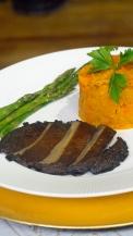 Gingered Portobello Steaks, Sweet Potatoes, Aspparagus 1